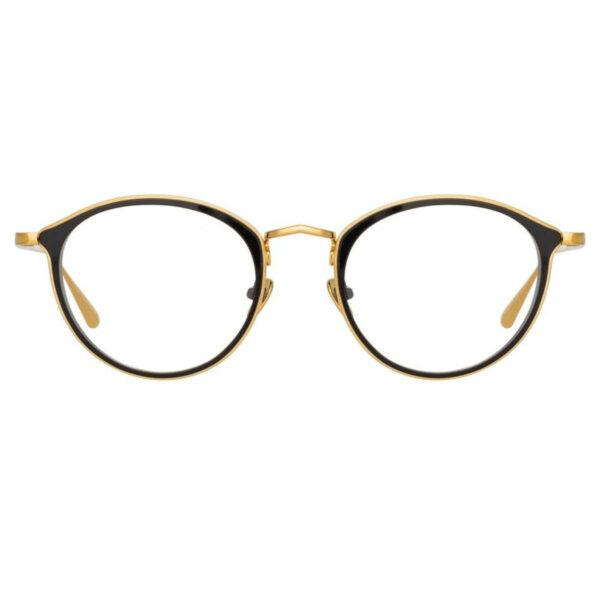 Oprawy okularowe Luis czarne złote półokrągłe metal model